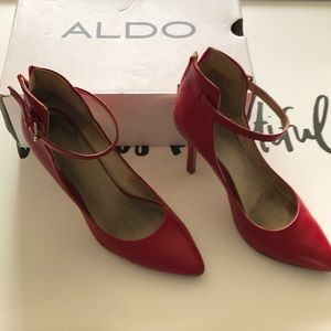 Aldo Red Ankle Buckle Pumps Size 8